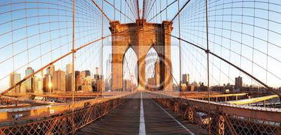Plakat New York City with brooklyn bridge, Lower Manhattan, USA
