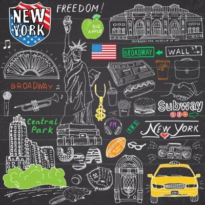 Plakat New York doodles miejskie elementy. Ręcznie rysowane zestaw z, taksówki, kawa, hotdog, Statue of Liberty, Broadway, muzyka, kawa, gazety, muzeum, parku centralnym. Rysunek doodle kolekcji, na tablicy