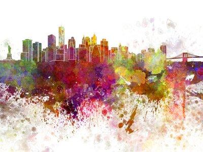 Plakat New York skyline v2 w akwarela