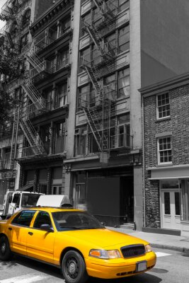 Plakat New York Soho buildings yellow cab taxi NYC USA