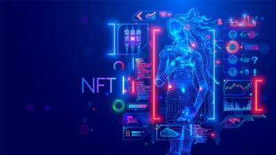 Plakat NFT token in artwork. Blockchain technology in digital crypto art, computer illustration, design. Create ERC20 of collectibles. Investment in cryptographic. Birth of Venus. Conceptual banner.