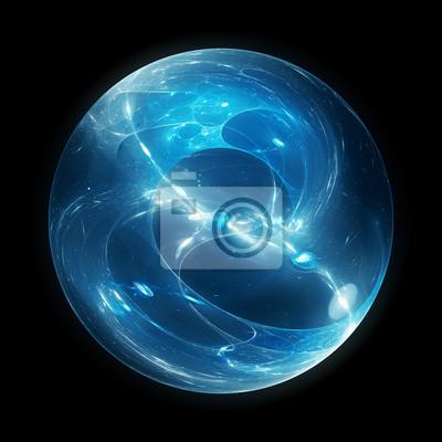 Plakat Niebieska świecąca wielowymiarowa kula energii na czarnym tle