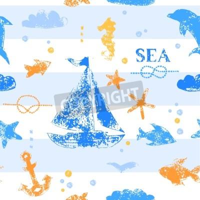 Plakat Niebieski i pomarańczowy znaczek grunge druku jachtu, kotwica, ryby, mewa na paski białym tle szwu wzór