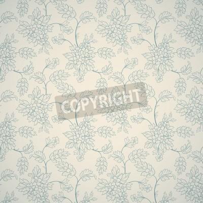 Plakat Niebieski kwiatowy ornament na jasnym tle