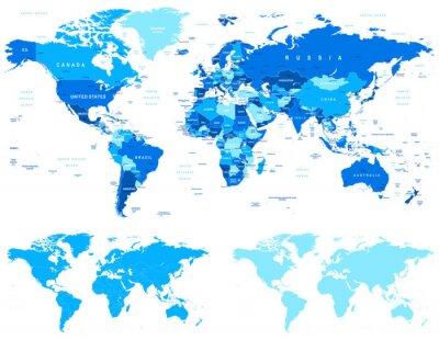 Plakat Niebieski Mapa świata - granice, kraje i miasta - ilustracji z innej specyfikacji. 1 - Bardzo szczegółowe: państwa, miasta, woda Obiekty 2 - 3 - kontury kraju kontury świata