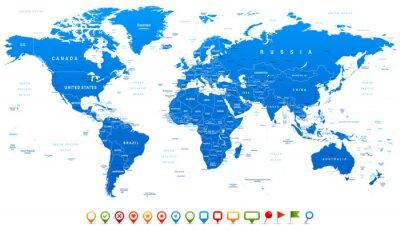 Plakat Niebieski Mapa świata i nawigacji ikony - ilustracji
