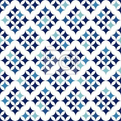Plakat Niebieski retro bezszwowe