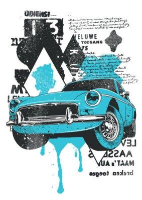 Plakat Niebieski samochód