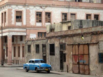 Plakat Niebieski samochód Havana