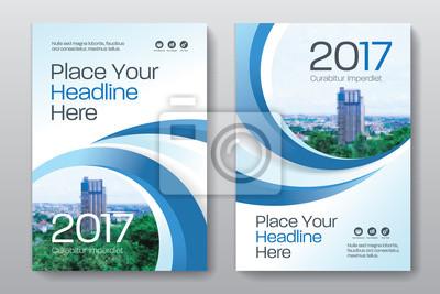 Plakat Niebieski Schemat kolorów z miastem w tle Biznesu okładka szablonu projektu w formacie A4. Łatwo dostosować do broszury, sprawozdania rocznego, czasopisma, plakat, prezentacja Corporate, portfel, ulot