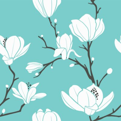 Plakat niebieski wzór magnolia