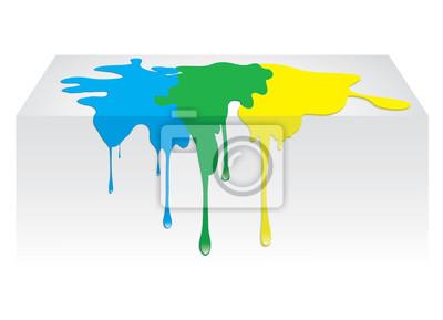 Plakat Niebieski, żółty, zielony wyciek farby koloru. Ilustracja wektorowa