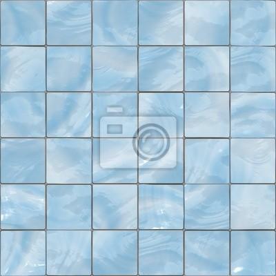 Plakat Niebieskie płytki szklane bez szwu tekstury