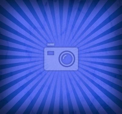 Plakat niebieskie tło retro sunburst z rocznika winiety i tekstury, fajne groovy promienie słoneczne lub belki w paski promieniowe