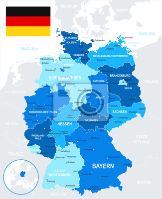 Niemcy - mapa i flagi -highly Wektor szczegółowe illustration.Image zawiera kontury kolejne warstwy ziemi, nazwy krajów i gruntów, nazwy miast, nazwy obiektów wody. - Flaga