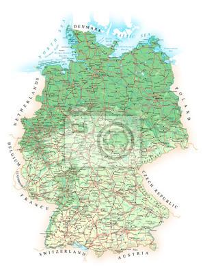 Niemcy - szczegółowa mapa topograficzna - illustration.Map zawiera topograficznych kontury, kraju oraz nazwy ziemi, miasta, obiekty wodne, flagi. - drogi - kolej