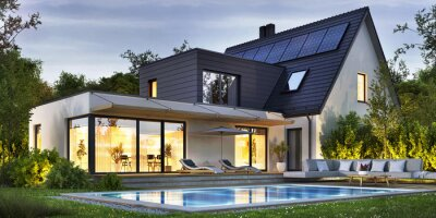 Plakat Night view of a beautiful modern house with solar panels and a swimming pool