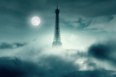 Plakat Night with Moon and Eiffel tower in Paris