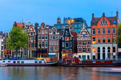 Plakat Noc miasta Widok kanał Amsterdam z domów Holenderski