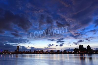 Plakat Noc, Skyline w Taipei na Tajwanie