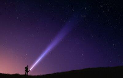 Plakat Nocne niebo błysk światła