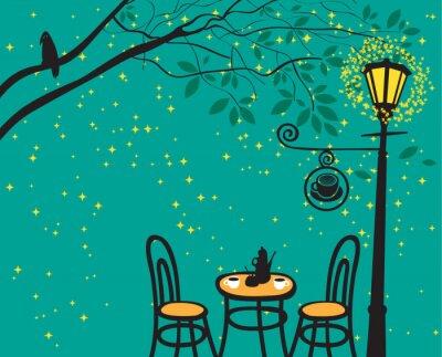 Plakat Nocny krajobraz z kawiarni noc w latarni