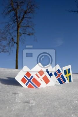 Plakat Nordic symbole Europa kraj na śniegu karty