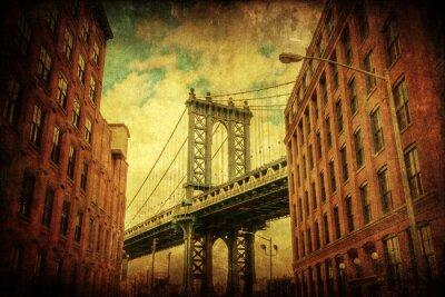 Plakat Nostalgiczny teksturowane obraz Brooklyn z widokiem na Manhattan Bridge