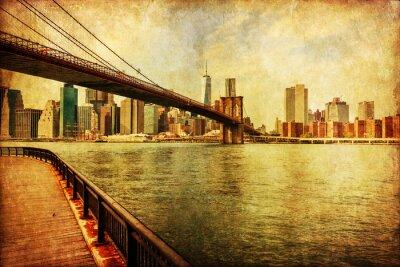 Plakat nostalgisch texturiertes Bild der Brücke Brooklyn mit Blick auf Manhattan, NYC