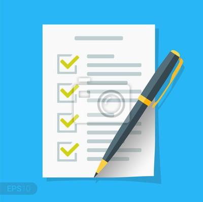 Plakat Nowa ikona płaskiej listy kontrolnej. Dokument z zielonymi znacznikami wyboru. Lista kontrolna i długopis. Formularz wniosku, kompletne zadania, lista rzeczy do zrobienia, koncepcje ankiet w formacie
