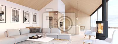 Plakat nowe nowoczesne mieszkanie na poddaszu skandynawskim. Renderowania 3d
