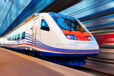 Plakat Nowoczesne dużych prędkości pociągu z ruchu Rozmycie