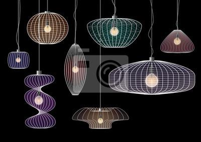 nowoczesne lampy wiszące wire ramki