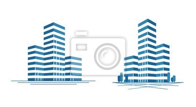 Plakat Nowoczesne miasto, wieżowiec logo. Budowa, ikona budynku lub etykieta. Ilustracji wektorowych