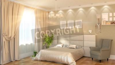 Nowoczesne Wnętrza Sypialni Z Fotel Renderingu 3d Plakaty Redro