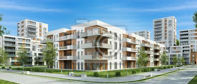 Plakat Nowoczesny budynek mieszkalny i ulicy