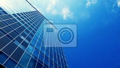 Plakat nowoczesny budynek na górze