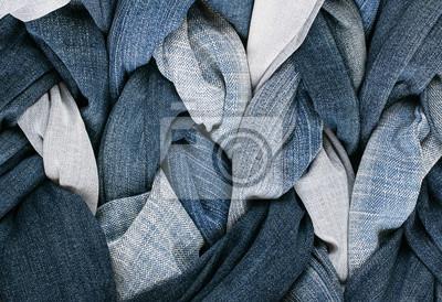 nowoczesny styl stylowy tkaniny tle wiele warkocze sznurowane w niebieskie dżinsy