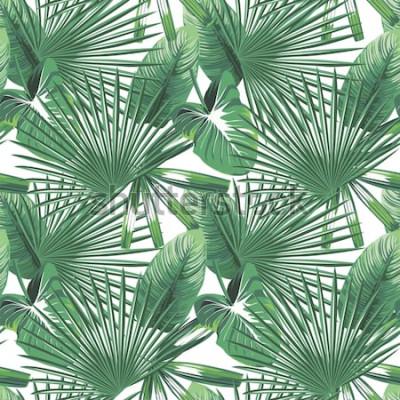 Plakat Nowożytny zielony tropikalny opuszcza bezszwowego projekt na białym tle. Wektorowa deseniowa ilustracyjna botaniczna tapeta