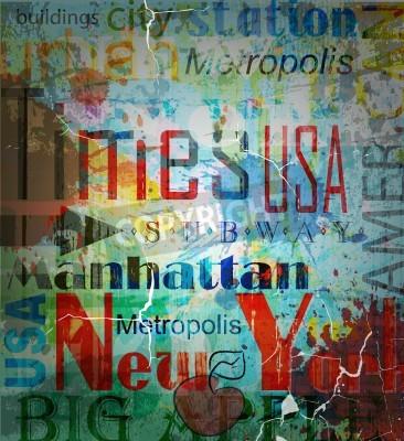 Plakat Nowy Jork. Kolaż Grunge słowo w tle.