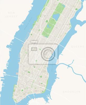 Plakat Nowy Jork Mapa - Dolna i Mid Manhattan. Bardzo szczegó? Owe map.It obejmuje: - wszystkie ulice - Parki - nazwy subdistricts - punkty zainteresowania - etykiety - dzielnic