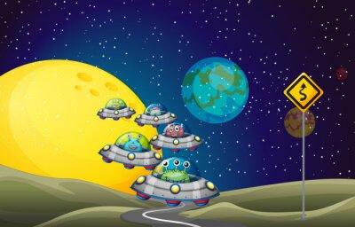Plakat Obcy latające UFO w przestrzeni