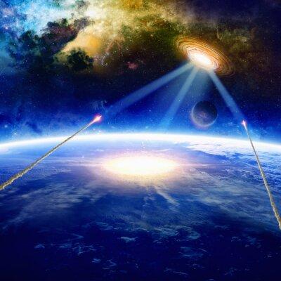 Plakat Obcy statek kosmiczny uderza Ziemię