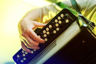 Plakat Obraz muzyk gra na akordeonie zbliżenie