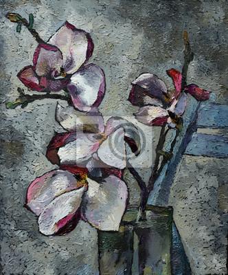 Obraz Olejny Martwa Natura Z Purpurowe Kwiaty Magnolii Na Płótnie Plakaty Redro