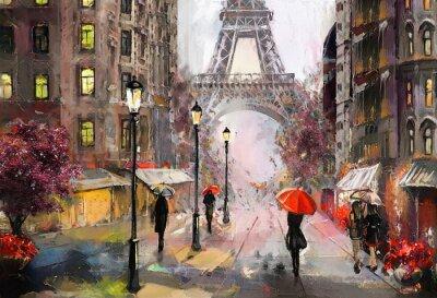 Obraz Olejny Na Płótnie Widok Na Ulicę Paryża Praca Plastyczna Plakaty Redro