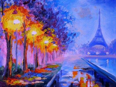 Plakat Obraz olejny z Wieży Eiffla, Francja, dzieła sztuki