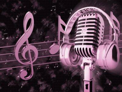 Plakat Obraz z mikrofonem retro z nut