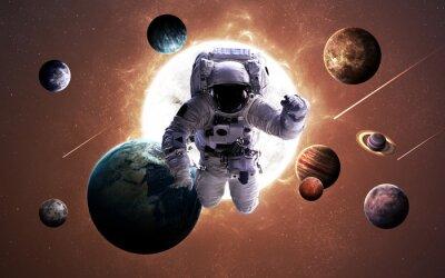 Plakat obrazy wysokiej rozdzielczości prezentuje planety Układu Słonecznego. Ten obraz elementy dostarczone przez NASA