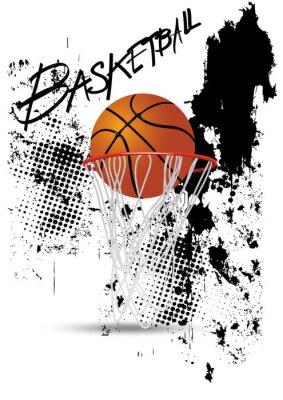 Plakat Obręcz do koszykówki na białym tle grunge